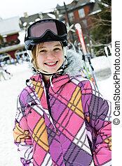 vrolijke , meisje, in, ski, helm, op, winter, vakantiepark