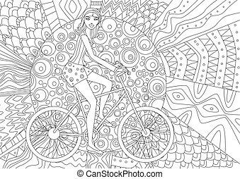 vrolijke , meisje, is, paardrijden, op een fiets, voor, kleurend boek