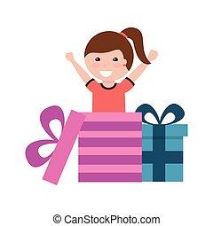 vrolijke , meisje, komen uit, cadeau, verrassing