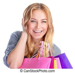 vrolijke , meisje, met, winkeltas