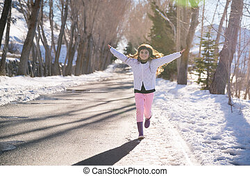 vrolijke , meisje, rennende