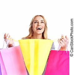 vrolijke , meisje, shoppen