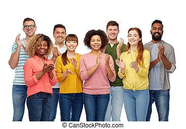 vrolijke , mensen, groep, internationaal, het glimlachen