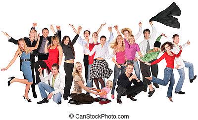 vrolijke , mensen, groep, vrijstaand, collage