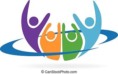 vrolijke , mensen, logo, vector