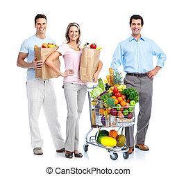 vrolijke , mensen, met, een, shoppen , cart.