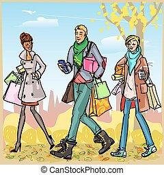 vrolijke , mensen, met, het winkelen zakken