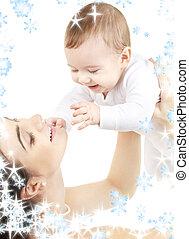 vrolijke , moeder, met, baby