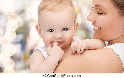 vrolijke , moeder, met, schattige, baby
