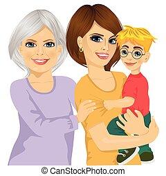 vrolijke , moeder, oma, haar, zoon