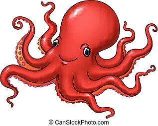 vrolijke , octopus, vrijstaand, spotprent