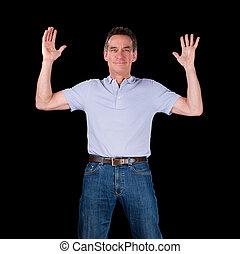 vrolijke , opgewekte, man, hands verheven, in lucht