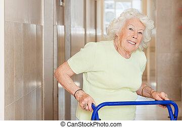 vrolijke , oude vrouw, gebruik, zimmer omlijsting