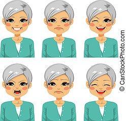vrolijke , oude vrouw, uitdrukkingen, gezicht