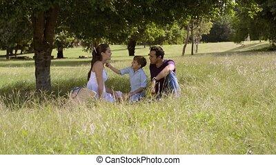 vrolijke , ouders, gezin, zoon