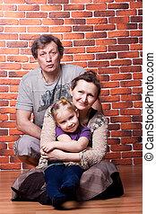 vrolijke , ouwetjes, paar, met, kleinkind