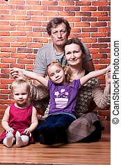 vrolijke , ouwetjes, paar, met, kleinkinderen