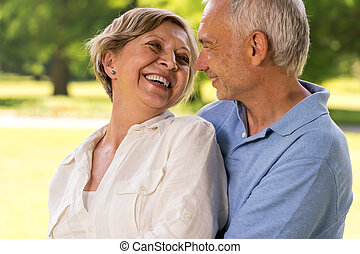 vrolijke , pensioen, senior koppel, lachen, samen