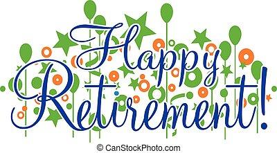vrolijke , pensioen, spandoek, of, meldingsbord