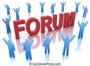 vrolijke , pictogram, ongeveer, forum, mensen