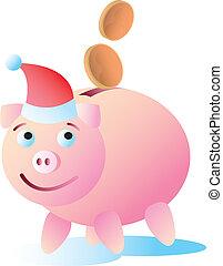vrolijke , piggy bank , kerstmis