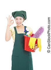 vrolijke , reinigingsmachine, vrouw, met, ok, gebaar