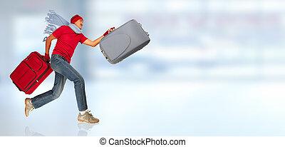 vrolijke , rennende , man, met, een, suitcase.