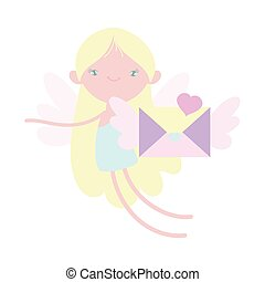 vrolijke , schattig, hart, brief, romantische, enveloppe, dag, cupido, valentines