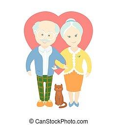 vrolijke , schattig, oud, paar, -, oma, en, opa