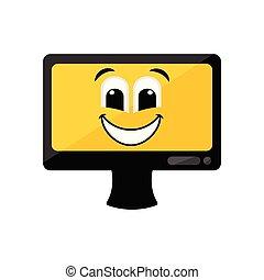 vrolijke , scherm, computer, emote, vrijstaand
