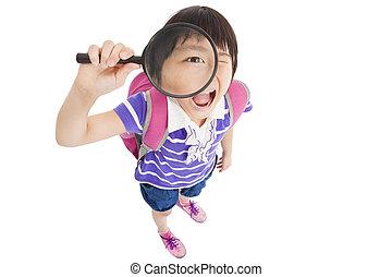 vrolijke , school, klein meisje, vasthouden, vergrootglas