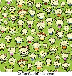 vrolijke , seamless, achtergrond, kinderen