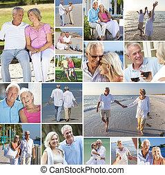 vrolijke , senior koppel, mensen, strand, pensioen, levensstijl