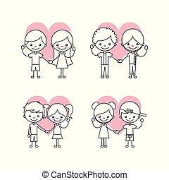 vrolijke , set, vriendschap, kinderen, iconen