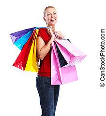 vrolijke , shoppen , girl.