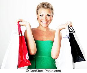 vrolijke , shoppen , meisje