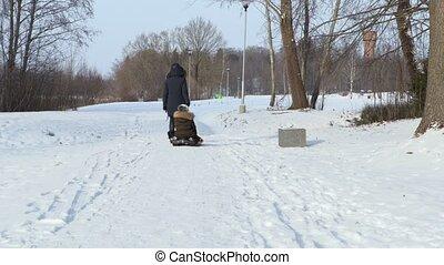 vrolijke , spelend, sneeuw, gezin, sled