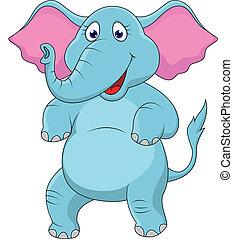 vrolijke , spotprent, elefant