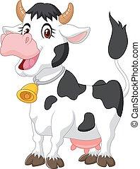 vrolijke , spotprent, koe