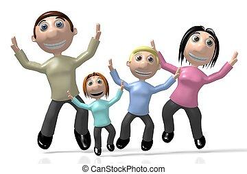 vrolijke , springt, 3d, gezin, lucht