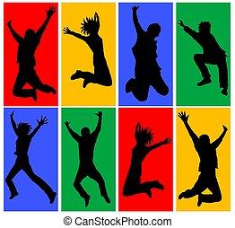 vrolijke , springt, mensen, collage