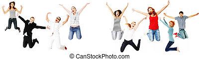 vrolijke , springt, mensen