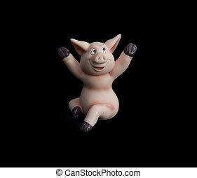 vrolijke , standbeeld, varken