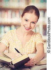 vrolijke , student, girl lezen, boekjes