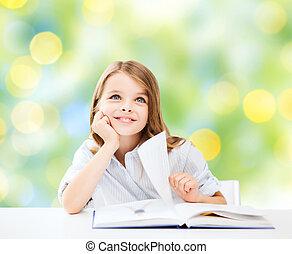 vrolijke , student, meisje, met, boek, op, school