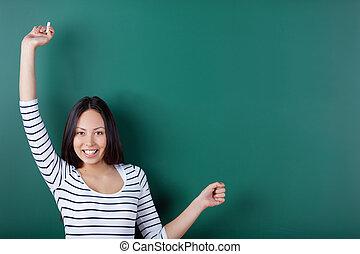 vrolijke , student, stretching, haar, armen op