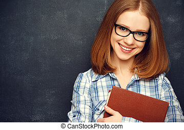 vrolijke , studente, met, bril, en, boek, van, bord