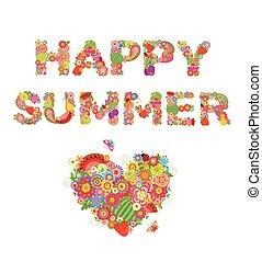 vrolijke , summer., afdrukken, met, bloemen, vruchten, en, hart gedaante