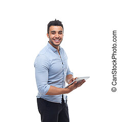 vrolijke , tablet, handel computer, blok, man, zakenman, houden, glimlachen, mooi