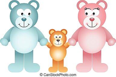 vrolijke , teddy, gezin, beer